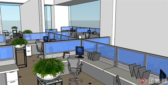 某办公室su草图大师模型附带渲染效果图(6)