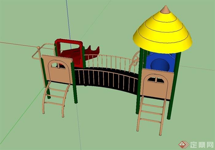 现代精致儿童游乐设施设计su模型(1)
