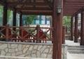 廊架,地面铺装,围栏,围栏栏杆,围栏柱,路灯