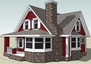 建筑设计某双层独栋别墅SU(草图大师)模型