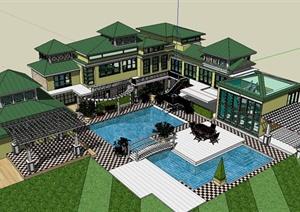 某美式大型别墅住宅楼建筑设计SU(草图大师)模型