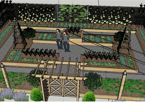 某私家住宅庭院花园景观设计SU(草图大师)模型