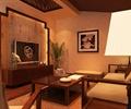 沙发,茶具,盆栽植物,花瓶插花,电视,电视柜,背景墙,客厅
