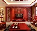 茶桌椅,地毯,电视,电视柜,电视背景墙,置物架,茶室