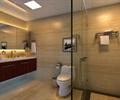 玻璃屏風,馬桶,洗手臺,裝飾畫,地面鋪裝,衛生間