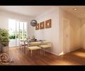餐桌椅,盆栽植物,地面铺装,吊灯,装饰画,背景墙,餐厅