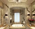 浴缸,洗手台,花瓶插花,吊灯,地面铺装,浴室