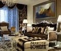 客厅,装饰画,沙发组合,台灯,吊灯,窗帘