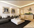 沙发,茶几,装饰画,摆件,地毯,吊灯,客厅