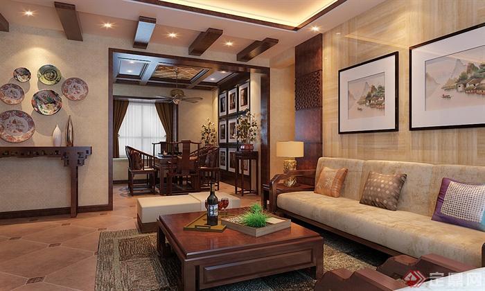 茶几,沙发,地毯,装饰画,摆件,装饰品,客厅