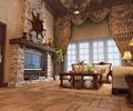 电视背景墙,仿古地砖,台灯,窗帘,沙发组合,客厅