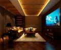 仿古砖,酒柜,天花吊顶,台灯,沙发,电视,影视厅