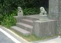 石狮雕塑,台阶踏步,入户景观