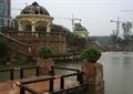 花钵,围栏,围栏栏杆,围栏柱,水池,水池水景,凉亭
