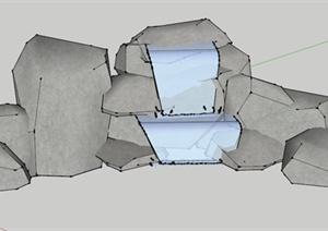园林景观设计原石造型跌水喷水池设计SU(草图大师)模型