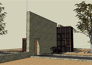 某现代独栋别墅设计SU(草图大师)模型