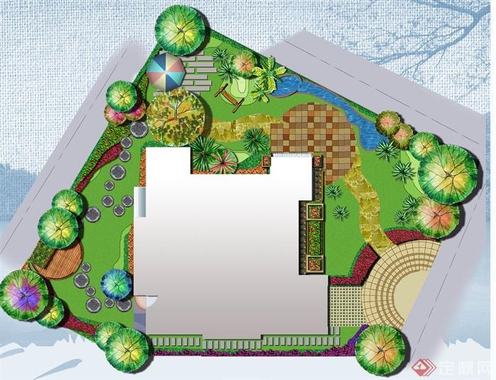 别墅庭院彩色平面图制作初级教程(1)