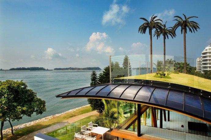 滨水别墅,庭院景观,屋顶花园,廊架