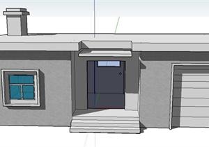 某单层居民住宅建筑设计SU(草图大师)模型