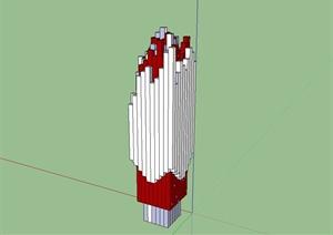 某现代雕塑景观柱设计SU(草图大师)模型