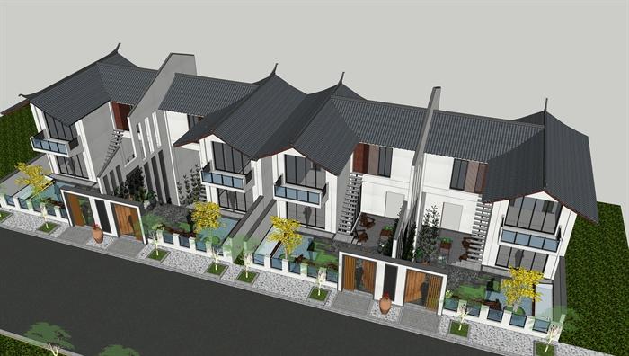 白族民居联排别墅建筑设计su模型