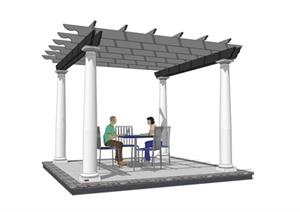 现代中式廊架座椅SU(草图大师)模型