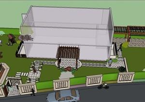 现代某住宅私家庭院景观设计SU(草图大师)模型