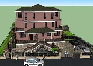 某三层别墅建筑与庭院景观设计SU(草图大师)模型+cad图