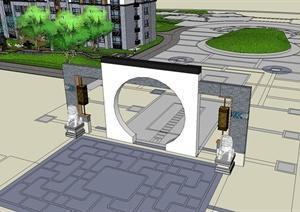住宅小区内部景观SU(草图大师)模型