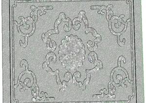 地面浮雕铺装设计SU(草图大师)模型