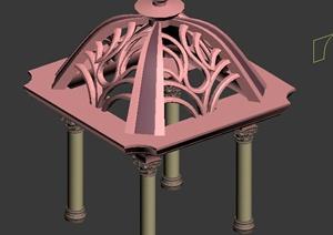 东南亚风格四角凉亭设计3dmax模型