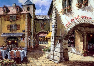 欧洲小镇风情水彩画