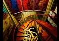 旋转楼梯,木扶手