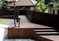 機器人雕塑,木平臺,臺階