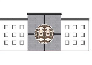 某古典中式对称镂空装饰景墙SU(草图大师)模型