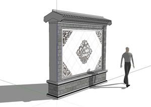 古典中式莲花图案装饰景墙SU(草图大师)模型