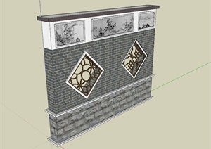 古典中式镂空山水画景墙SU(草图大师)模型