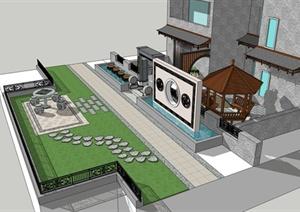 古典中式住宅庭院设计SU(草图大师)模型
