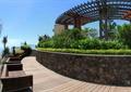 别墅庭院景观,廊架,矮墙,座椅,步栈道