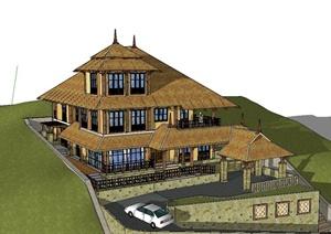 东南亚风格多层山地别墅建筑设计SketchUp模型