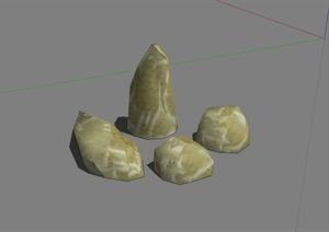 山石、景石、假山、自然石等多个设计SU(草图大师)模型