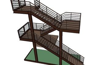 两层建筑节点楼梯设计SU(草图大师)模型