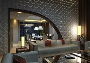 现代某豪华住宅空间装修设计cad施工图+jpg效果图
