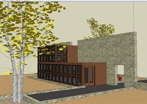 奇特现代风格别墅建筑设计SU(草图大师)模型