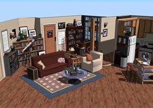 某美式住宅空间家装设计SU(草图大师)模型