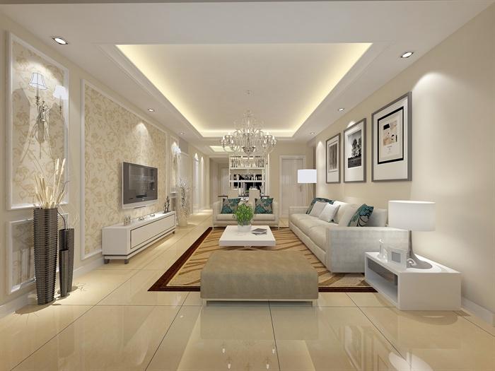 现代某住宅空间室内装修设计CAD施工图(效果图)1