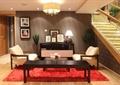 服装店,顾客休息区,洽谈区,楼梯,桌椅,吊灯