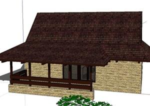 东南亚风格单层住宅建筑设计SketchUp模型