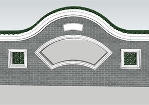 某古典中式窗花装饰景墙SU(草图大师)模型