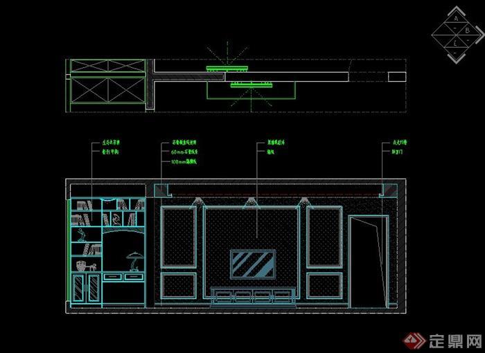 现代某住宅空间室内装修设计CAD施工图(效果图)(2)